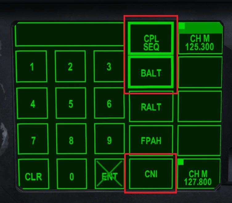 「 CPL SEQ (CouPLed SEQuence)」ボタンと「 BALT (Barometric ALTimeter)」ボタンをクリックしてモードをセット