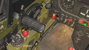 スタータースイッチのカバーを開けて、スイッチを入れると、プロペラが少しずつ周り始めます。エンジンがかかり、プロペラが安定して回り始めたら、ミクスチャコントロールレバー(赤い「M」と記載されているレバー)を「RUN」へ入れます。
