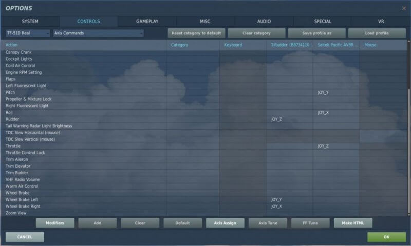 DCS World OPTION CONTROLS
