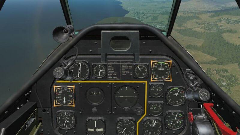 TF-51D Landing Training MP計を30 in.Hgに対気速度計を250 mph